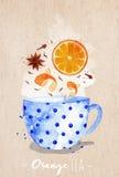 Teacup orange tea kraft Royalty Free Stock Photography