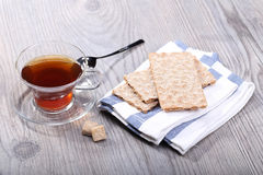 Teacup and rye bread Royalty Free Stock Photos