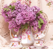 Teacup with spring flowers Royalty Free Stock Image