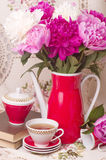 teacup with spring pi-mesons stock photo