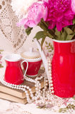 teacup with spring pi-mesons stock photos