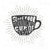 Teacup sylwetka z ręcznie pisany zwrotem Wektorowa ilustracja, graficzny etykietka projekt Zdjęcia Stock