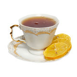 Teacup with tea and lemon Royalty Free Stock Images