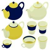 Teacup and teapot, kettle, isometric set. Tea, teacup and teapot, kettle, isometric set, kitchenware items Royalty Free Stock Photo