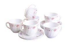 teacup Teetasse eingestellt auf einen Hintergrund teacup Teetasse eingestellt auf eine Rückseite Lizenzfreies Stockbild