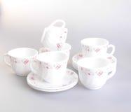teacup Teetasse eingestellt auf einen Hintergrund teacup Teetasse eingestellt auf eine Rückseite Stockfotos
