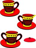 Teacup trio. Teacup, sugar bowl and creamer holder, in a vibrant design and colors, over white illustration Royalty Free Stock Image