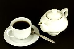 Teacup und Teekanne Stockfoto
