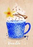 Teacup vanilla tea kraft Royalty Free Stock Image