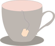 Teacup Vector. Teacup in simple vector with teabag hanging out Stock Images