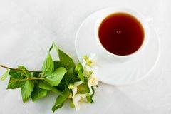 Teacup on white napkin. Stock Photos