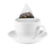 Teacup witch tea bag. Isolated on white backgound Stock Photos