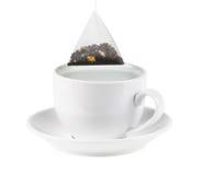 Teacup witch tea bag stock photos
