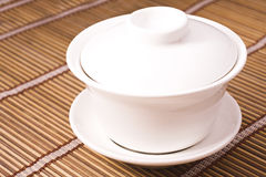 Teacup on wooden table Royalty Free Stock Photos