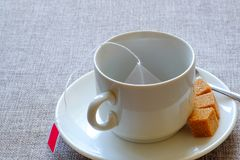 teacup Zucchero di canna, tè della frutta in una borsa fotografie stock libere da diritti