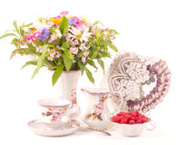 teacups and flowers Stock Photos