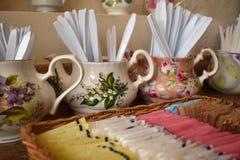 Teacups. Restaurant breakfast display Stock Photos