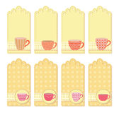 Teacups tags collection Royalty Free Stock Images