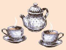 Teacups and teapot Royalty Free Stock Photos