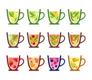 Teacups. Various tea kinds in teacups Stock Photos