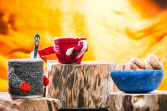 Teacups wearing sweaters Stock Images