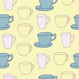 Teacups on yellow background royalty free illustration