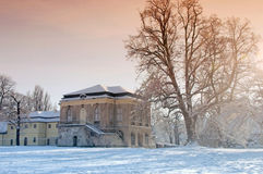 Teahouse. Of the castle at Altenburg, with snow-covered landscape Stock Photo