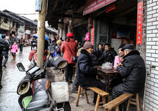 The teahouse in Bemu town in sichuan,china Royalty Free Stock Photo
