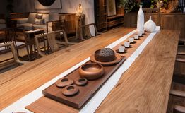 The Teahouse of Modern Chinese families. Furniture made of mahogany has been loved by the Chinese since ancient times. With the development of time, Chinese stock image