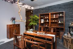 The Teahouse of Modern Chinese families. Furniture made of mahogany has been loved by the Chinese since ancient times. With the development of time, Chinese stock images