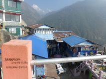 Teahouse Village: Proof That It`s Annapurna The We See Stock Photos