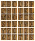 Teak ξύλινες ομάδες δεδομένων αλφάβητου Στοκ φωτογραφία με δικαίωμα ελεύθερης χρήσης