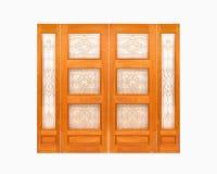 Teak ξύλινη πόρτα στο απομονωμένο άσπρο υπόβαθρο Στοκ εικόνα με δικαίωμα ελεύθερης χρήσης