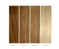Teak, Apple, Okkernoot en Blauwe Cottonwood-steekproeven stock afbeelding