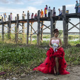 Teak bridge and newly-weds Stock Photo