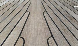 Teak deck on super yacht. Teak decking wallpaper texture background Stock Photos
