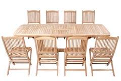 Teak garden furniture, Garden Furniture set. Teak garden furniture isolated in white background Stock Photo