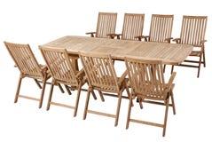Teak garden furniture, Garden Furniture set. Teak garden furniture isolated in white background Stock Photos