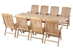 Teak garden furniture, Garden Furniture set. Teak garden furniture isolated in white background Royalty Free Stock Image