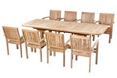 Teak garden furniture, Garden Furniture set. Teak garden furniture isolated in white background Royalty Free Stock Photo