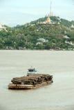 Teak logs in timber on boat in Ayeyarwaddy river,Myanmar. Stock Images