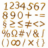 Teak signs and figure. Figures and mathematical signs from teak veneer, set Stock Photo