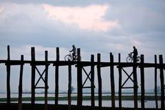 Teak u-Bein γέφυρα σε Amarapura, το Μιανμάρ Στοκ Φωτογραφία