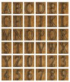 Teak wood alphabet blocks Royalty Free Stock Photo