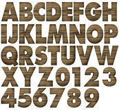 Teak wood alphabets. With letters and numbers Stock Photography