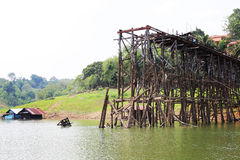 Teak wood bridge was break up, Kanchanaburi, Thailand Royalty Free Stock Photo
