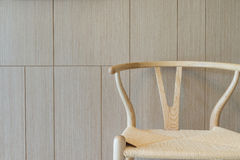 Teak wood brown texture background with chair Royalty Free Stock Photos