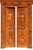 Teak wood carving door Stock Images