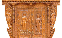 Teak wood carving door Royalty Free Stock Image