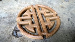 Teak wood  Chinese style carving for decoration interior work Royalty Free Stock Photography